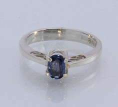 Natural Blue Sapphire Faceted Oval Handmade Sterling Silver Ladies Ring size 6 - £62.88 GBP