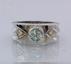 Natural Blue and White Zircon Handmade Sterling Silver Gents Ring size 9.75 - £95.33 GBP