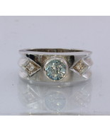 Natural Blue and White Zircon Handmade Sterling Silver Gents Ring size9.75 - £103.81 GBP