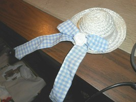 WHITE STRAW HAT WITH BLUE GINGHAM BOW ACCENTED WITH WHITE ROSE HANDMADE/... - $7.69