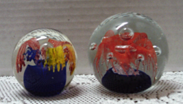 Two Vintage Art Glass Controlled Bubble Round Blown Glass Paper Weights - $20.00
