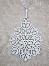 VTG 1950's CROWN TRIFARI White Enamel Snowflake Abstract Choker Necklace - $39.60