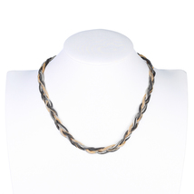 UE- Gold, Silver & Charcoal Gun Metal Tone Interwoven Designer Necklace - $25.99