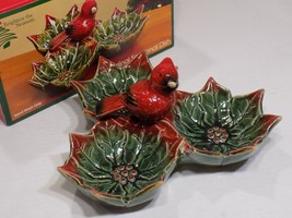 Brighten the Season Ceramic Cardinal 3 Section Holiday Serving Dish with... - $32.18