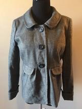 J Crew Gray Wool Gold Sparkly Metallic Lined Peplum Blazer Jacket size 6 CJ9 - $54.95