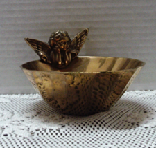 Vintage Cupid Putti Angel Solid Brass Bowl Soap Dish / Candy Dish / Vani... - $14.00