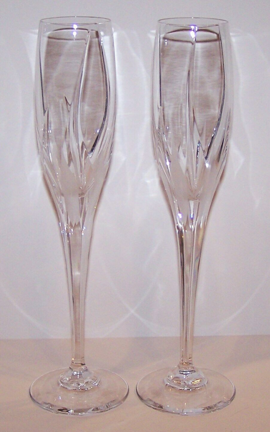 "STUNNING PAIR OF MIKASA CRYSTAL FLAME D'AMORE 10 3/4"" CHAMPAGNE FLUTES"