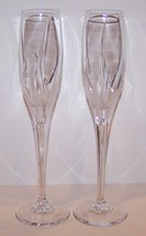 "STUNNING PAIR OF MIKASA CRYSTAL FLAME D'AMORE 10 3/4"" CHAMPAGNE FLUTES - $36.17"