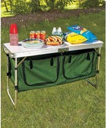 Fold Away Portable Camp Table Folding Camp Kitchen Table w/ Storage Alum... - $129.98