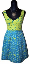 NWT $298 Nanette Lepore Girls Only Slvless Dress Sz 8 Lime Turquoise Flo... - $69.73 CAD
