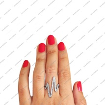 White GP Pure.925 Sterling Silver Zig Zag Heart Beats Ring For Women's S... - $80.00