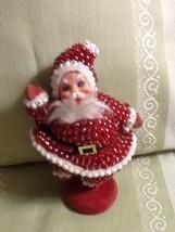 Vintage Flocked Beaded With Sequins Red Santa F... - $10.00