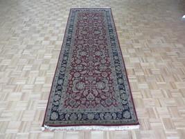 4'1 X 11'9 Runner Hand Knotted Burgundy Black Agra Oriental Rug G5077 - $413.69