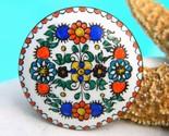 Vintage austrian folk art enamel copper pin brooch flowers thumb155 crop