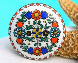 Vintage Austrian Folk Art Enamel Copper Brooch Pin Flowers - €25,21 EUR