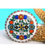 Vintage Austrian Folk Art Hand Painted Enamel Copper Brooch Pin Flower - $29.95