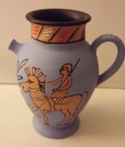 Italy Hand Painted Roman Warrior Man Horse Pott... - $42.08
