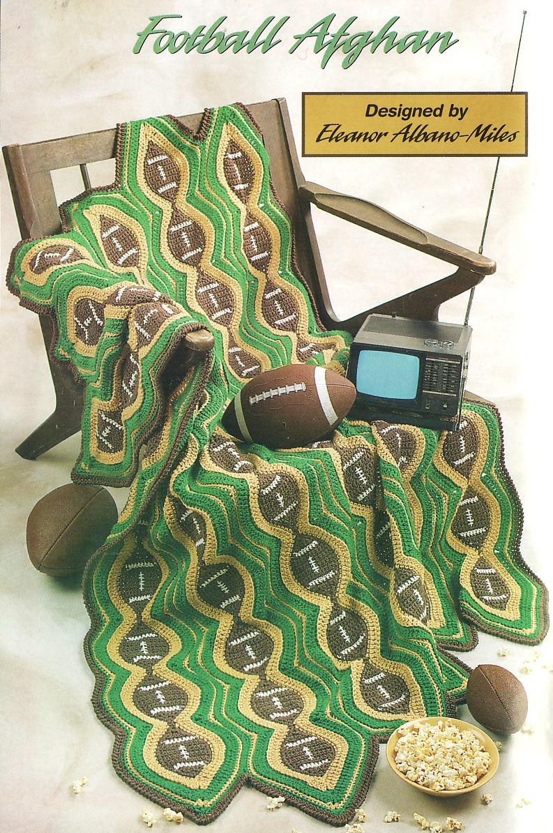 Football Afghan Crochet Pattern Blanket Throw 44 by 64 Inches Annies Attic