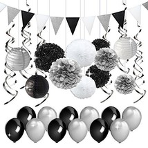 KREATWOW Black and Silver Party Decorations Tissue Paper Pom Poms Paper ... - $21.80