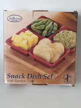Snack Dish Set with Bamboo Tray 5 Pc - £11.00 GBP