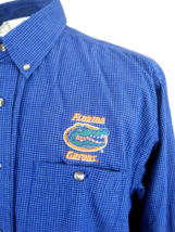 FLORIDA GATORS patch Men shirt CASUAL/DRESS long sleeve sz L blue check ... - $24.99