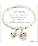 Inspirational Footprints Bracelet Charms I Carried You Silver Gold Bangl... - $18.79