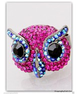 Women's Bright Fuchsia Owl Cocktail Ring Adjustable Rhinestones Pink Sho... - $14.84