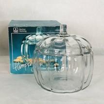 ANCHOR HOCKING Glass Halloween Pumpkin Jar Scalloped Vintage Cookie  Lid... - $29.21