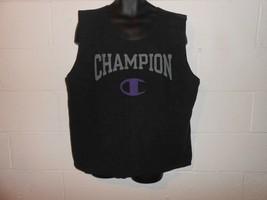 Vintage 80s 90s Black Purple Champion Inside Out Sweatshirt Tank Top XL - $19.99