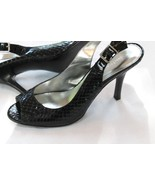 Calvin Klein Peep toe Black Leather SnakeSkin  High Heels Size 9 - 9.5 - $28.71