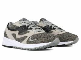 Saucony Men's Grid 8000 CL HT Gray Black Herringbone Running Shoes S70352-1 NIB