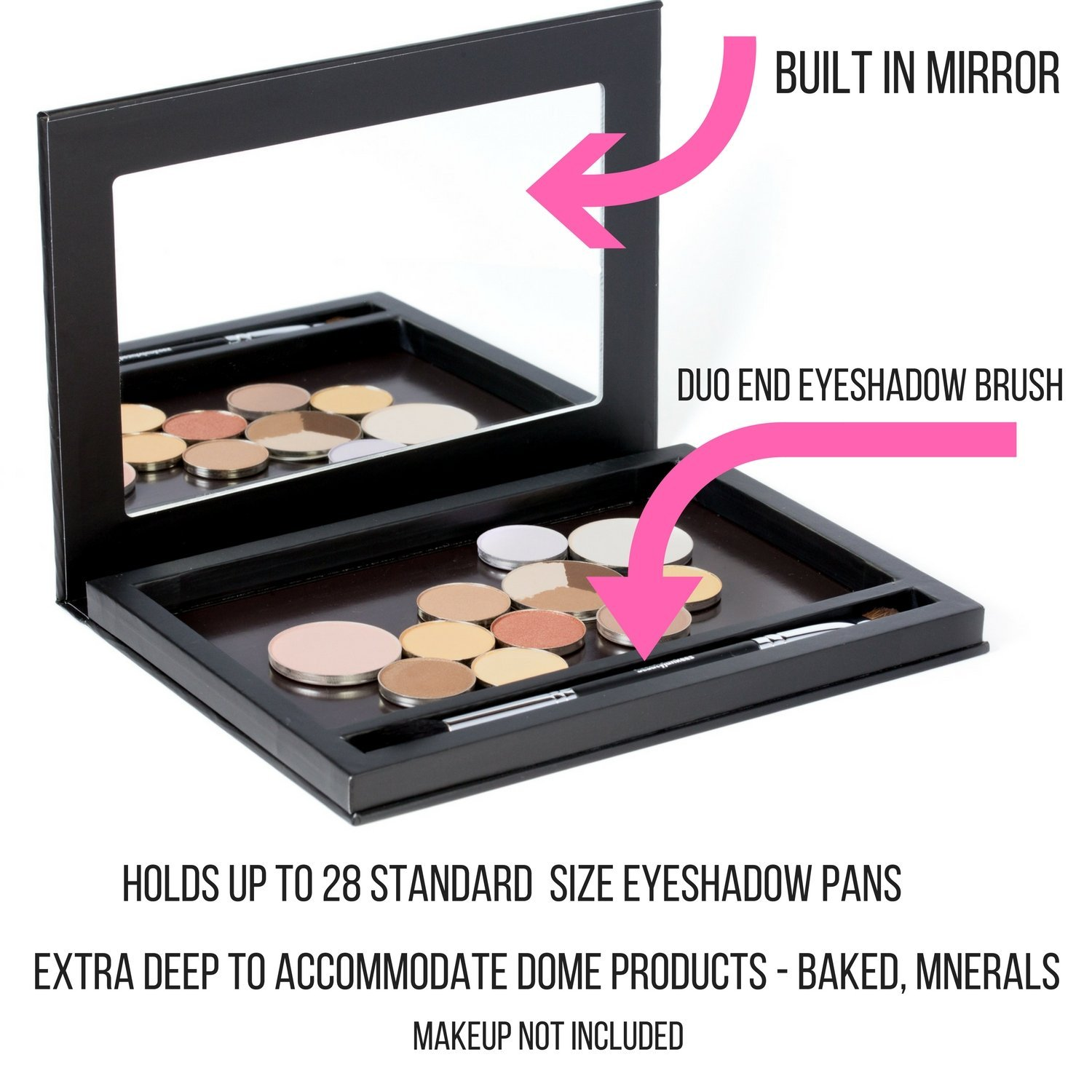 Large Black Empty Magnetic Makeup Palette with Mirror: Organizer Case for Eye... image 3