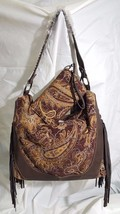 Montana west brown with brown tapestry, fringe, leather and a matching wallet - $59.39