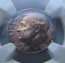 1957 Roosevelt Silver Dime NGC MS 66 MONSTER Copper Toned End Roll Album... - $81.89