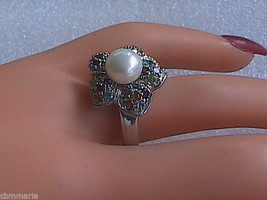 Sterling Silver Multi color Stone Pearl Ring - $30.00