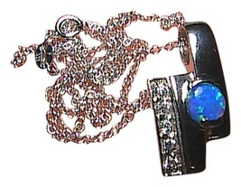 Sterling Silver .75 Cts Opal & CZ Necklace - $50.00