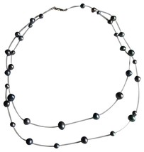 14k Tin Cup 2-Strand Gray FreshWater Pearl Necklace - $38.50