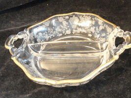Fostoria 8 Inch Divided Rose Pattern Dish With Gold Trim - $4.99