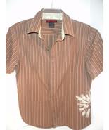 Tony Hawk Skateboard Shirt Hip Brown Stripes GUC SS Large Cotton Blend - $13.45