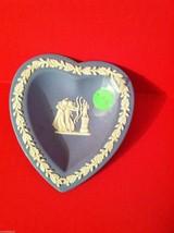 Wedgwood Aurora Blue Jasperware Heart Shaped Dish Pin Tray - $4.99