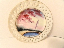 Reticulated HandPainted Small Plate Washington Monument Cherry Trees Hit... - $14.97