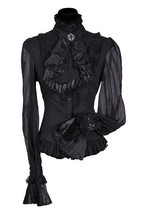 Gothic Governess - Victorian Blouse , Black - pleated sleeve - $48.36