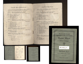1910 MONMOUTH COUNTY AGRICULTUARL FAIR ASSOC -HORSE SHOW CATALOGUE-RED B... - $29.99