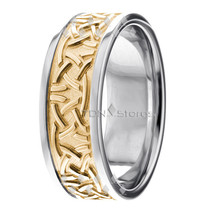 14K Gold Two Tone Celtic Wedding Bands Rings Irish Celtic Knot Wedding R... - $713.64