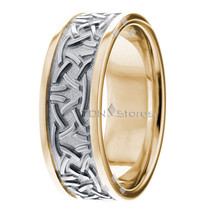 Two Tone Celtic Wedding Bands 18K Gold Rings Irish Celtic Knot Wedding R... - $905.79