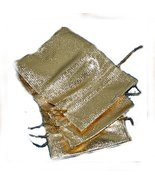 10 Gold Lame' Organza Favors Mini Gift Pouch Bags - $14.99