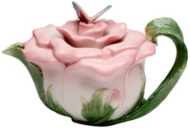 PINK ROSE TEAPOT SERVER WITH BUTTERFLY LID - $40.11