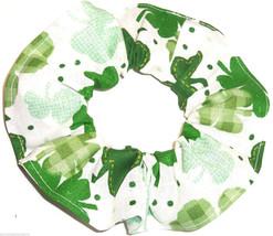 St Patricks Day Shamrocks Hair Scrunchie Scrunchies by Sherry Ponytail Holder  - $6.99
