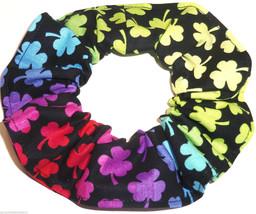 St Patricks Day Rainbow Shamrocks Hair Scrunchie Scrunchies by Sherry Ponytail - $6.99