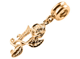 10K Yellow GOLD Handmade Rose Dangle Charm Fits EUROPEAN BRACELETS - $73.87